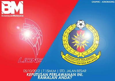 Keputusan Lions XII vs ATM Separuh Akhir  Piala Malaysia 2012