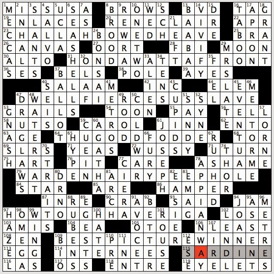 Game table giveaways crossword clue