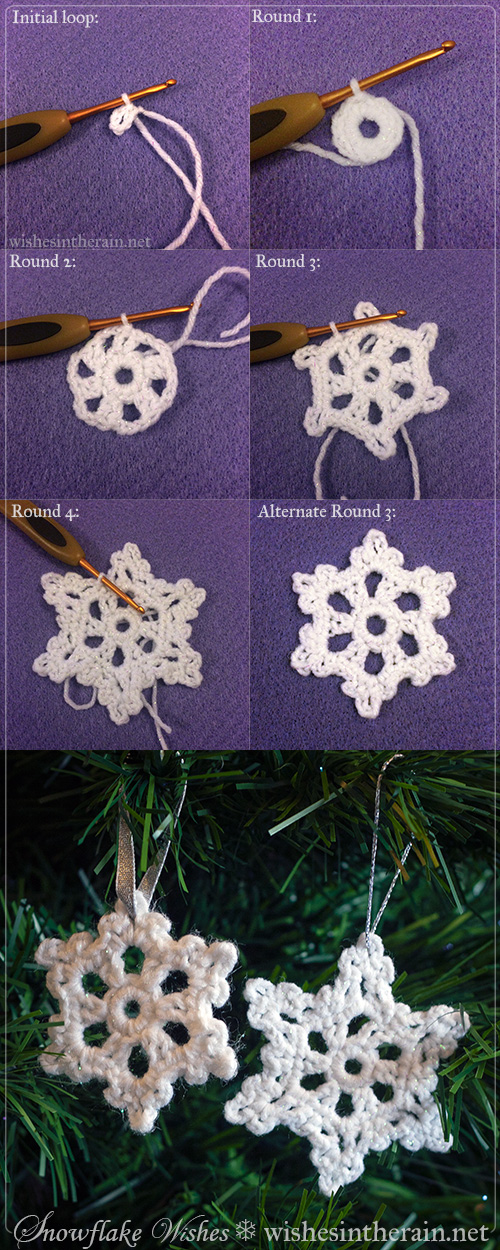 step by step instructions for two crochet snowflakes - www.wishesintherain.net
