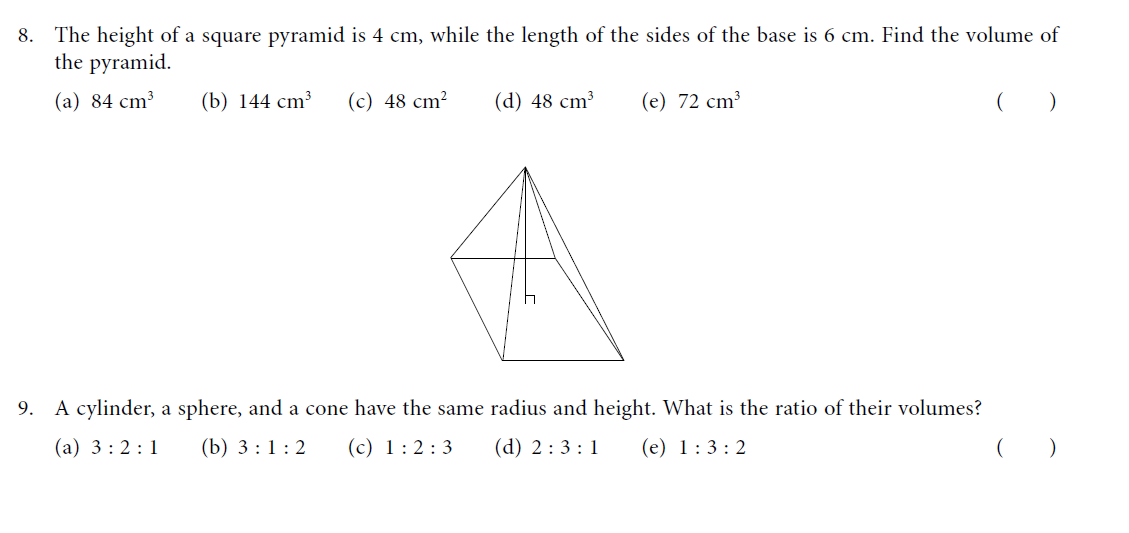 Multiple Choice Questions(Volume and Surface Area) Learn ...