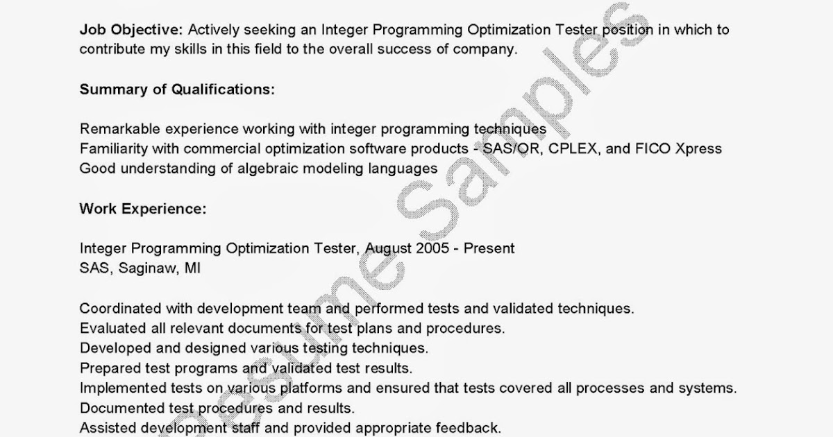 resume sles integer programming optimization tester