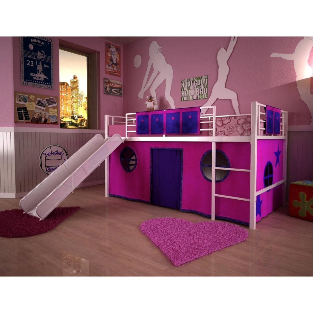 Bunk beds with slide and tent - Metal Junior Low Loft Bed With Slide And Pink Play Tent