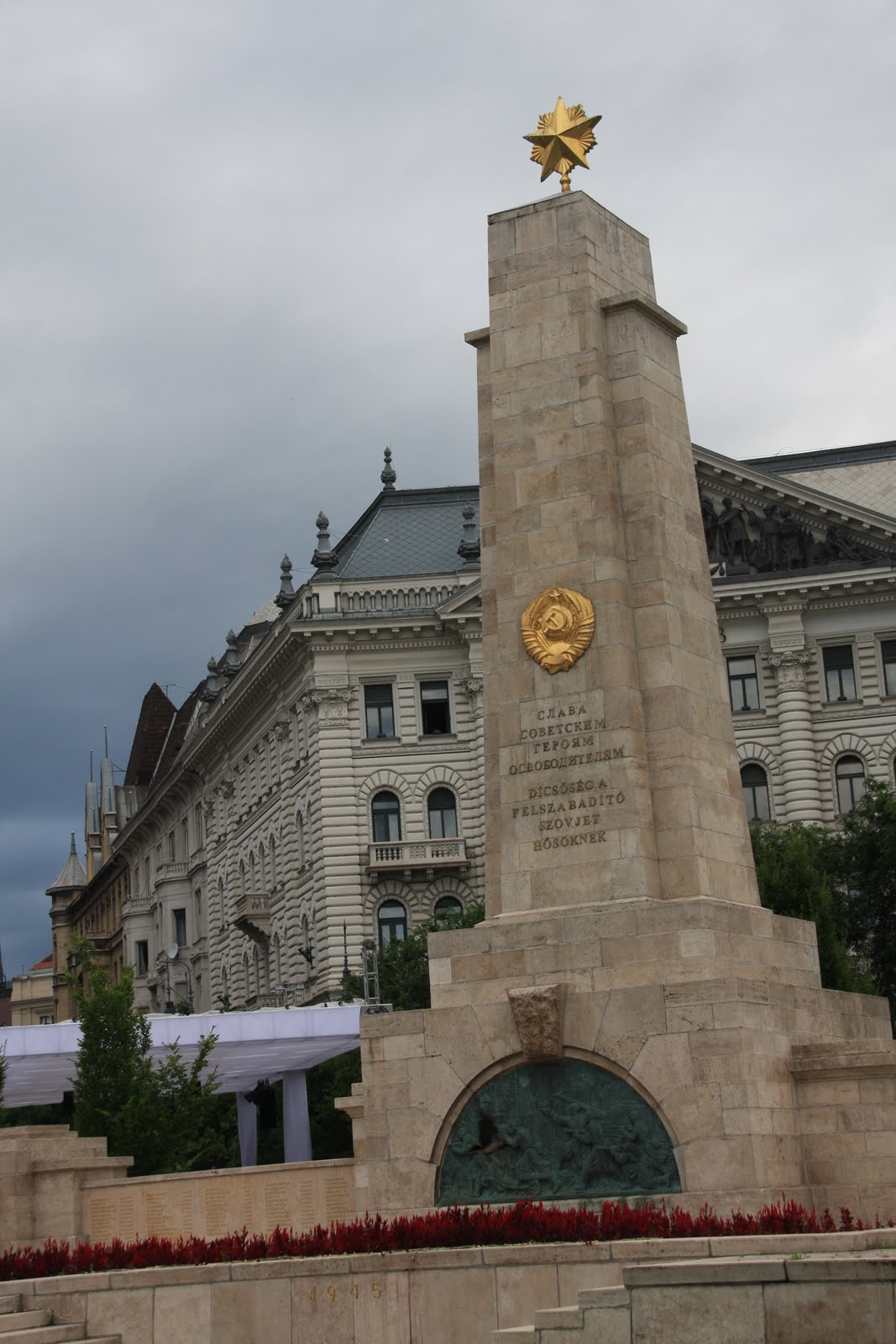 communism left as part of the pull out in 1991 is strangely located directly outside the heaviestly guarded building in budapest yes the us embassy