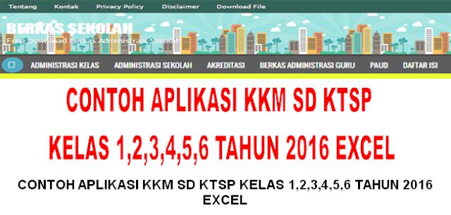 CONTOH APLIKASI KKM SD KTSP KELAS 1,2,3,4,5,6 TAHUN 2016 EXCEL