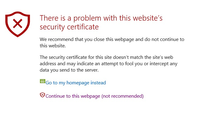 Connection Error : Problem with this website security certificate ...