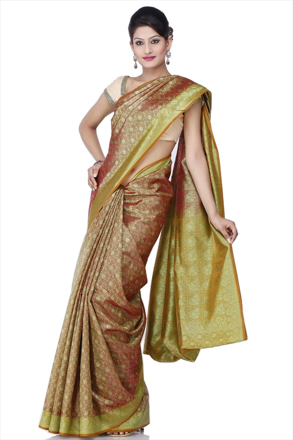 Golden Brown Polyester Banarasi Saree
