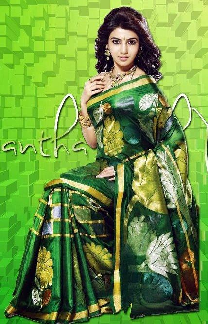 cc753981efa2e4 Samantha in Dark Green Uppada Silk Saree - Saree Blouse Patterns