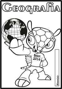 Sugestão de capinhas de caderno com o desenho do boneco Fuleco