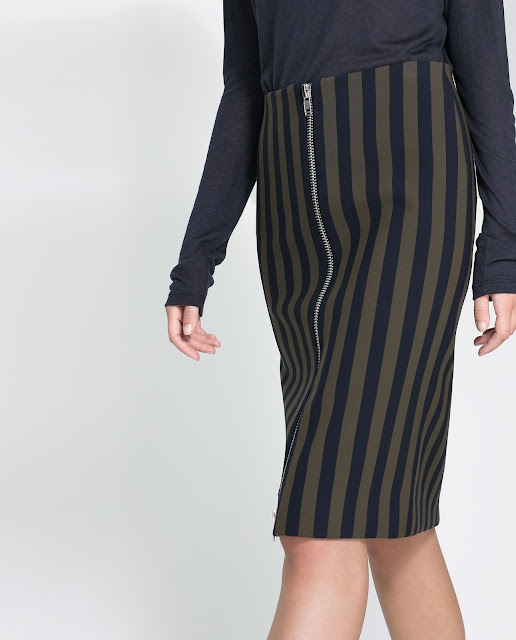 striped zip pencil skirt