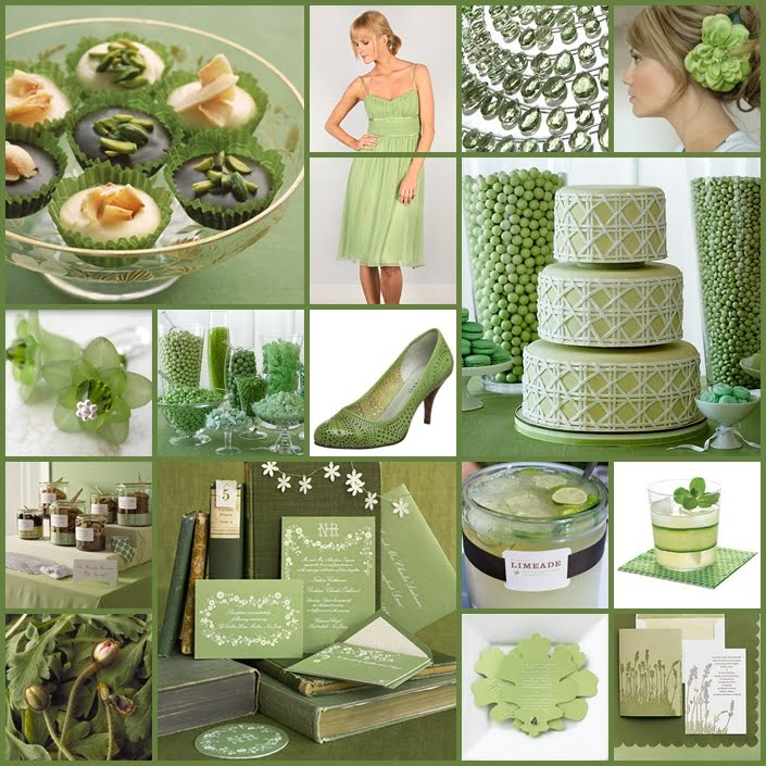 sage green floating candles and green apple place cards and wedding