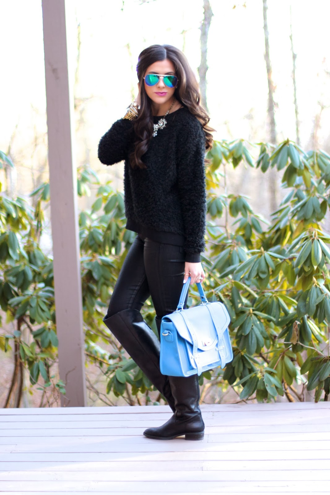 www.thesweetestthingblog.com, Emily Gemma, Faux Leather Leggings, Fuzzy Black Sweater, Mirrored Blue Aviators, Mirrored Blue RayBans, Sole Society boots, Over the knee boots, MAC up the amp, Gigi New York, Gigi New York Hayden Satchel, Spring Gigi NY Haydon Satchel, Michael Kors Runway Watch, David Yurman ring