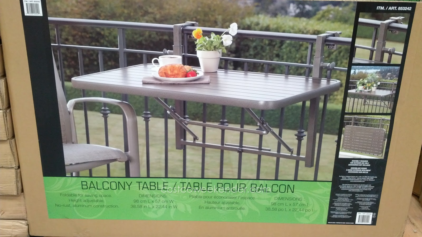 Andersen stokke dante folding space balcony table - Table suspendue balcon ...