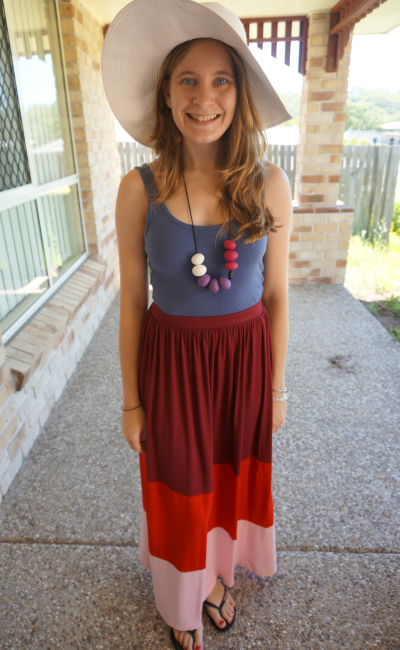 Stylish sun hat maxi skirt beach outfit Aussie Blogger