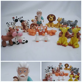 animais da arca de Noé em biscuit
