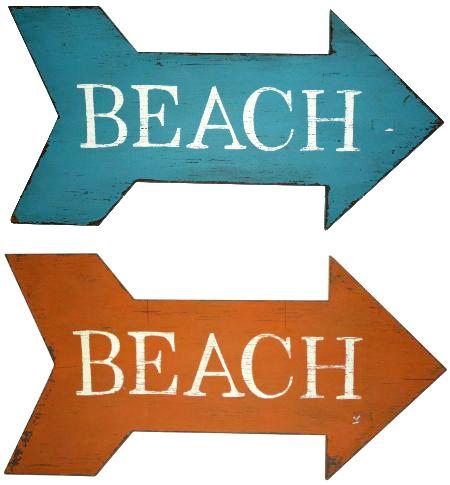 Beach Arrow Wood Signs