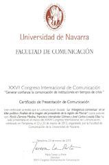 Certificado participación XXVII Congreso Internacional de Comunicación - Universidad de Navarra