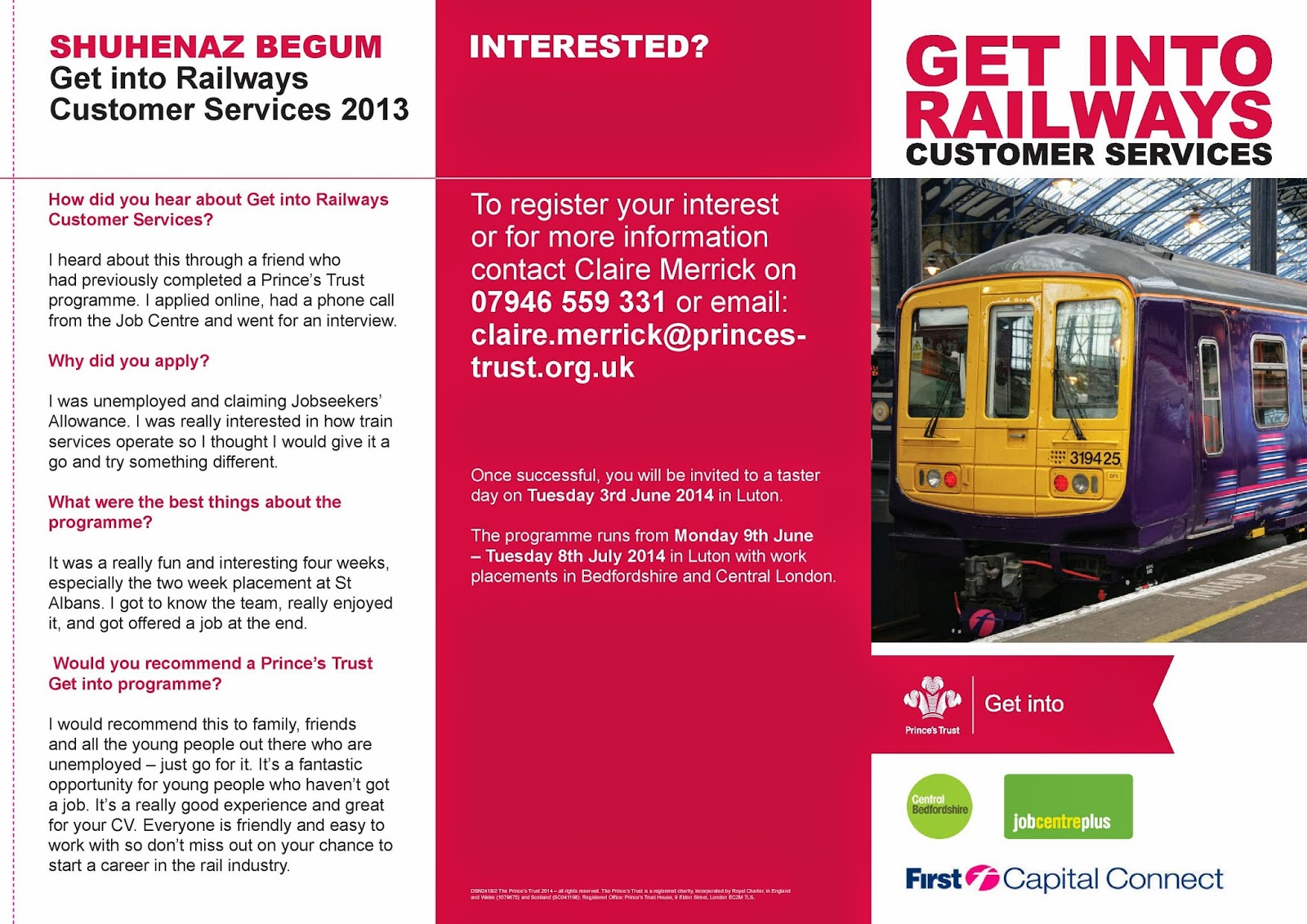 signposts start over get into railways it is a training programme allowing you to gain qualifications develop your cv and work skills and even the possibility of securing a job first