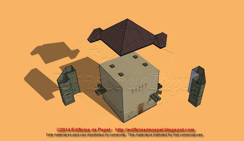 Maqueta de papel: tejado, vigas, garitas y edificio
