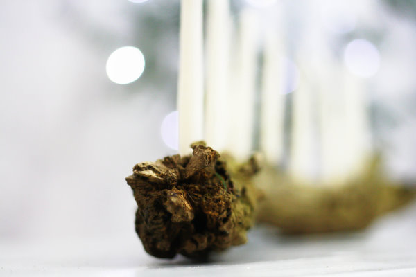 Wurzelholz als Kerzenhalter