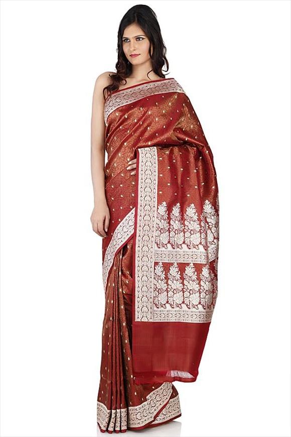 Rosewood Kattan Silk Banarasi Saree