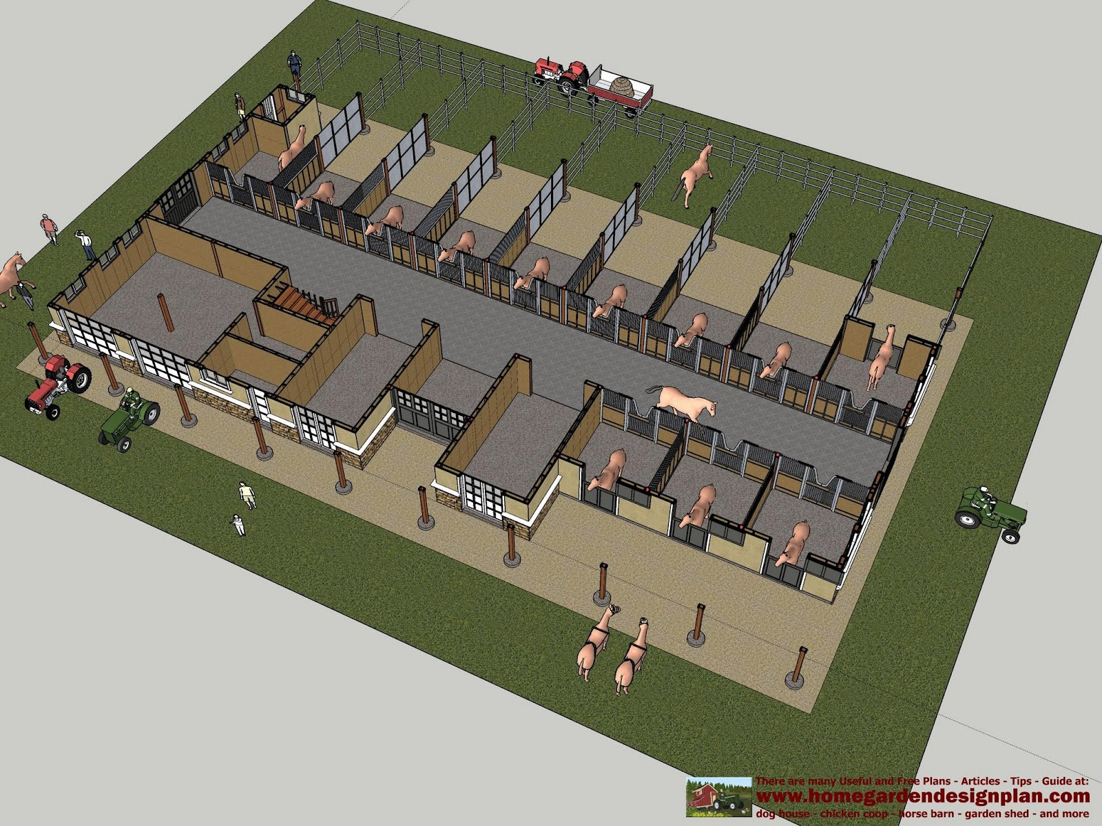 Home garden plans hb100 horse barn plans horse barn for Horse stable design plans
