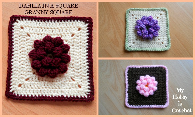 My Hobby Is Crochet Dahlia In A Square Granny Square Free
