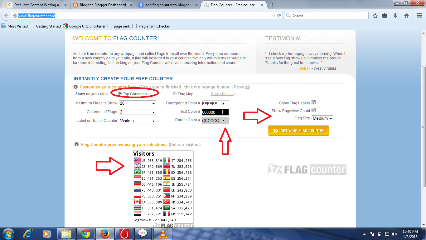 how to add flag counter on blogger blog or website?