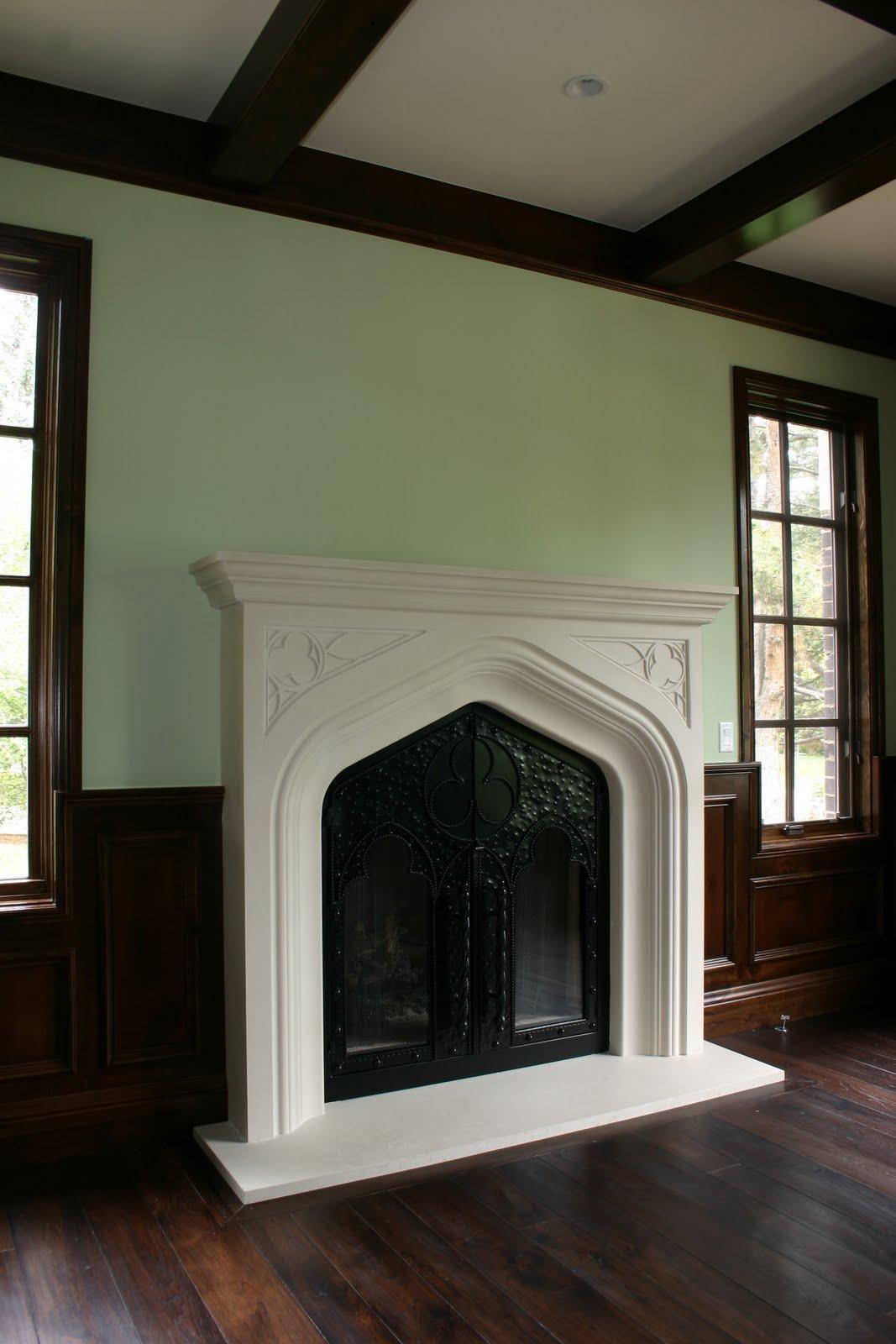 Tudor style fireplace mantel