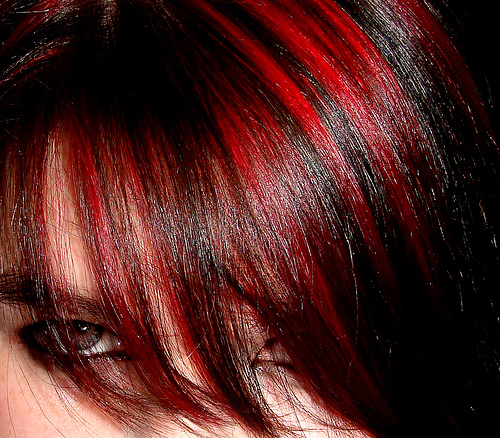pictures of dark brown hair with red highlights. Dark Auburn with