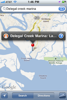 iPhone screenshot of Delegal Creek Marina