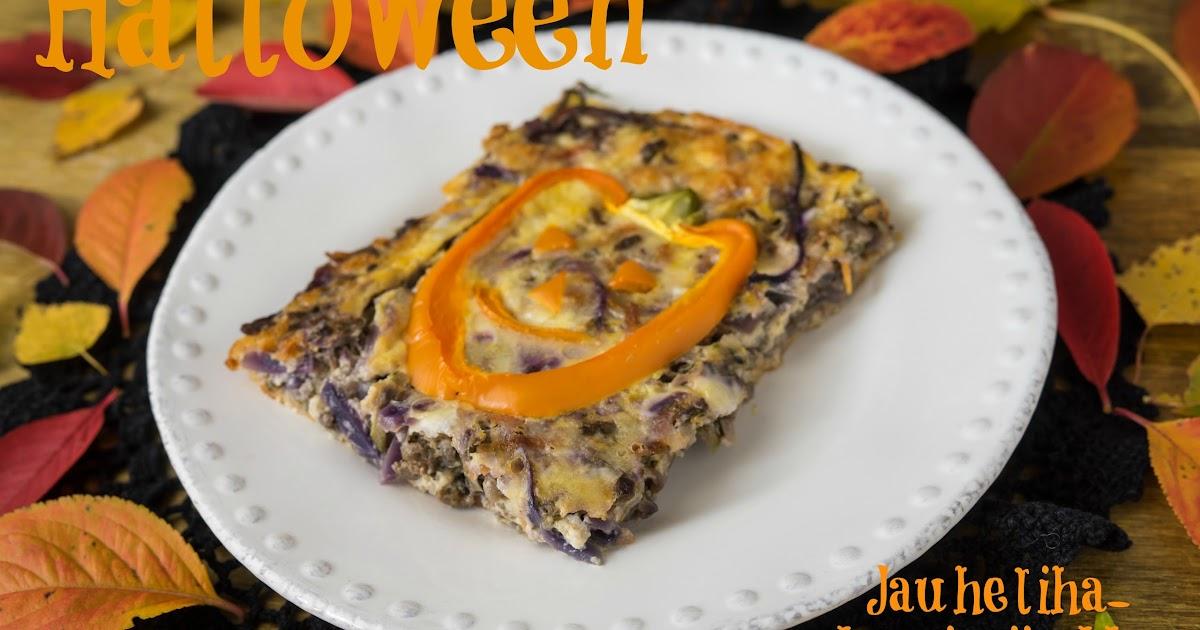 Hiidenuhman keittiössä Halloween jauheliha kasvispiirakka