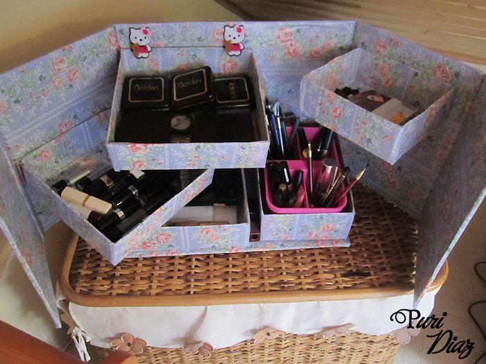 Organizador De Baño En Tela Paso A Paso:Organizador de maquillage reciclando cartón