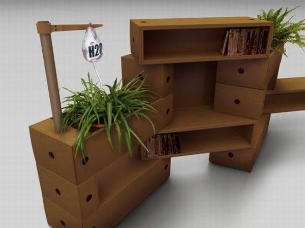 Bookshelves Made From Cardboard