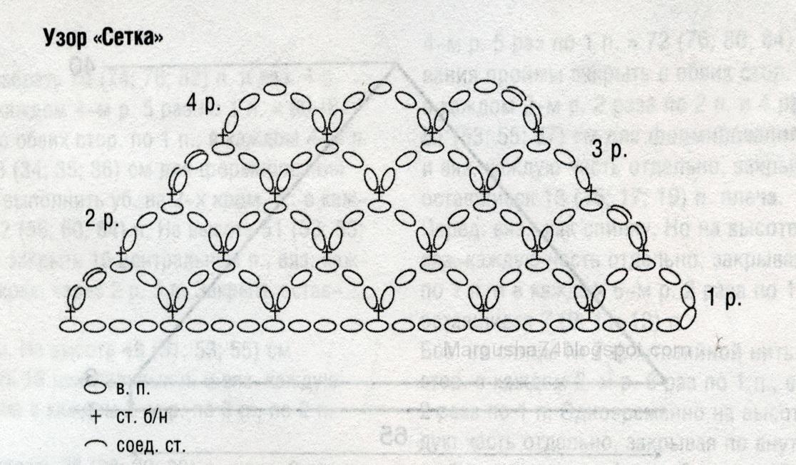 Вязание крючком шали виноградная лоза 14