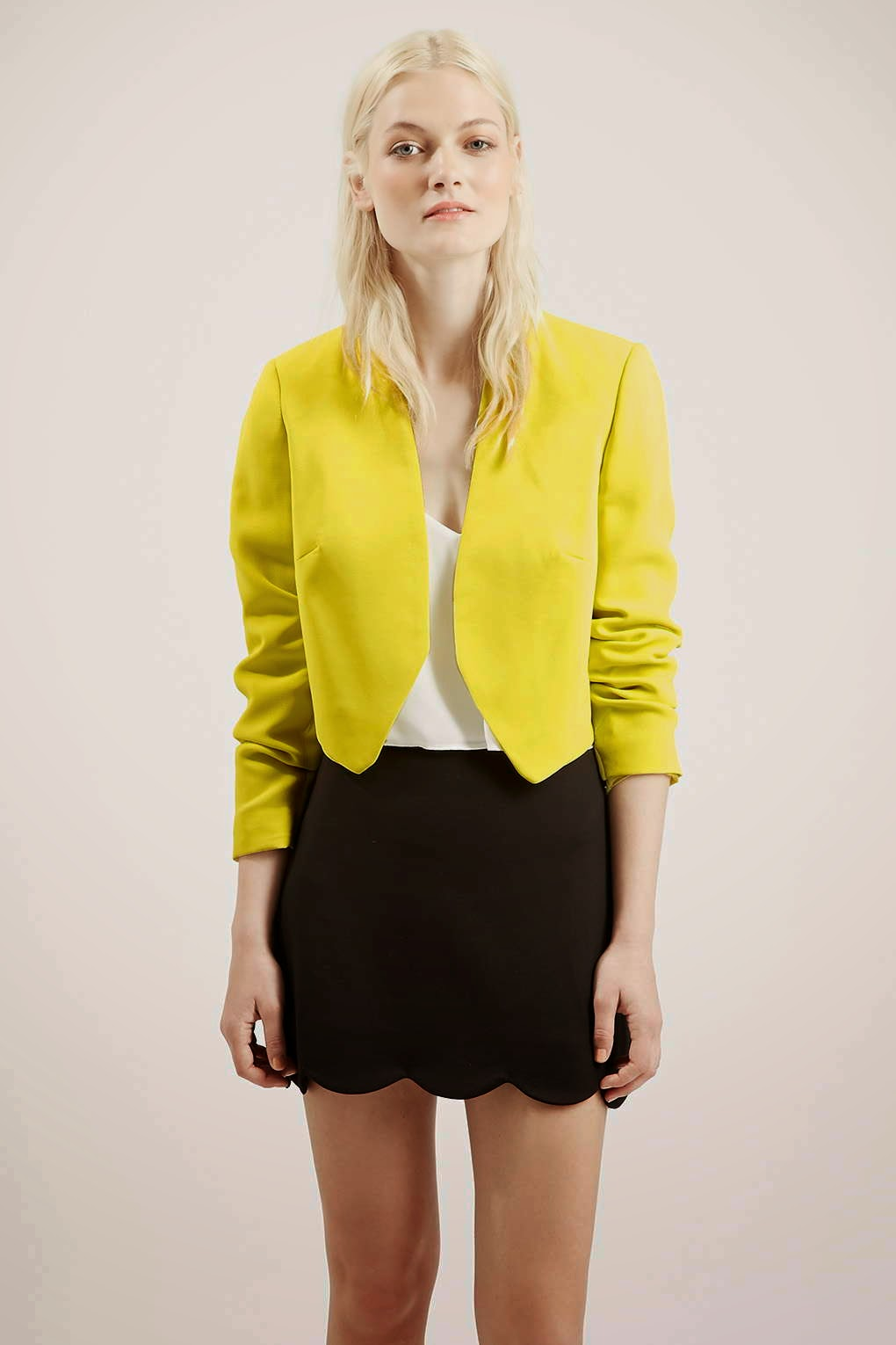 yellow cropped jacket, bright yellow cropped blazer,