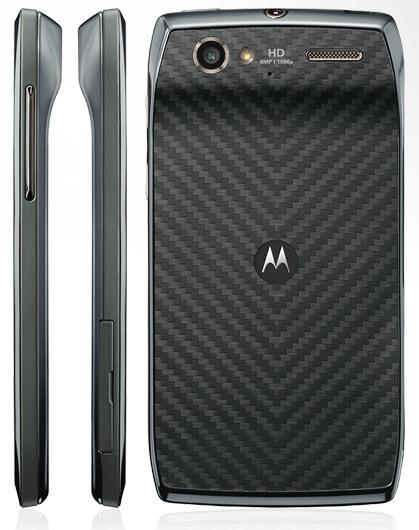 Motorola RAZR V Android Smartphone Sisi Samping dan Belakang