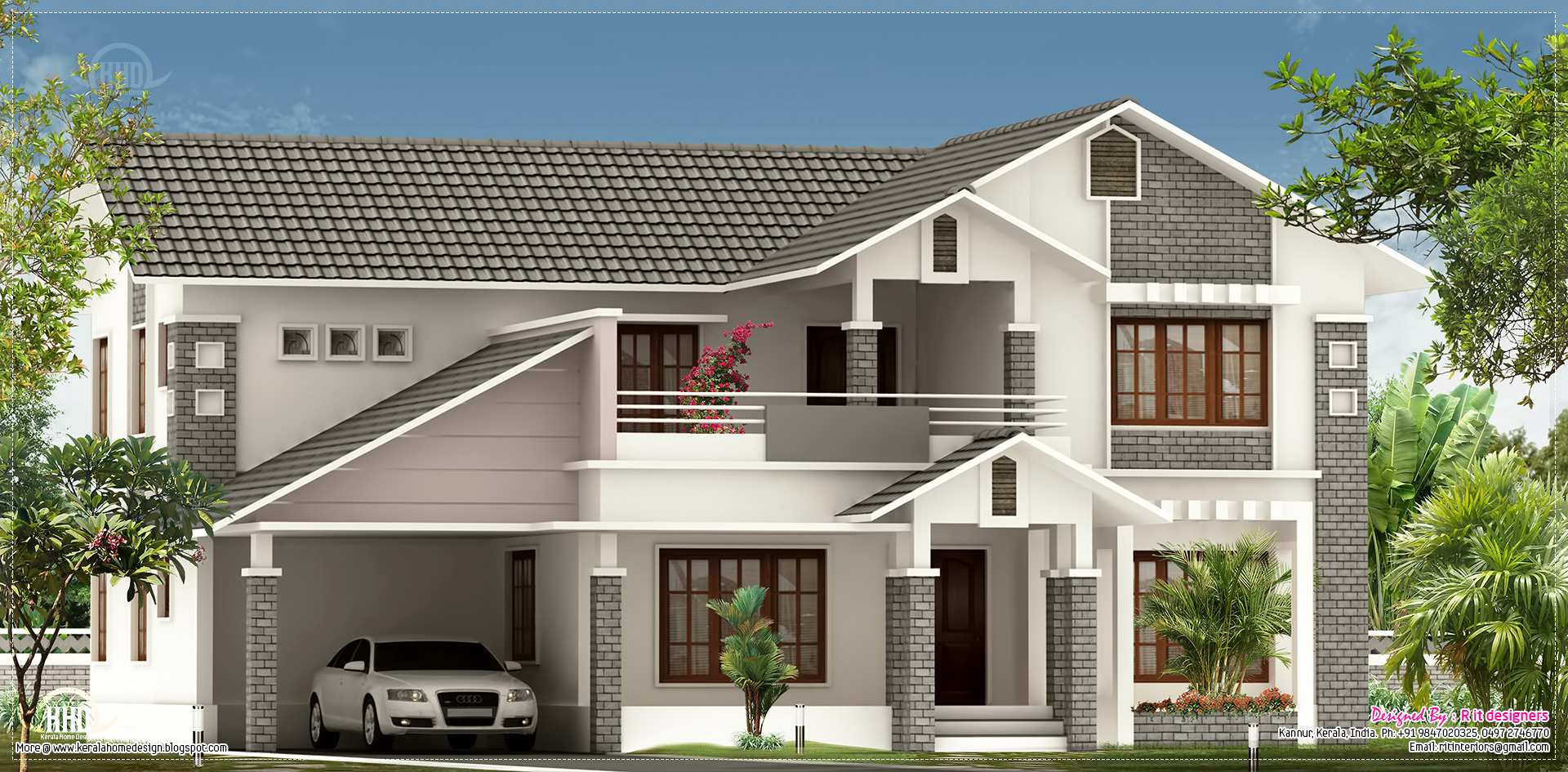 Villa elevation design in 2900 kerala home for Best villa design