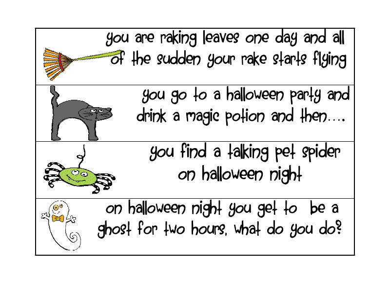 halloween story starters These halloween language arts activities for your middle school students gives keyword story starters distribute copies of the tell tale heart short story to.