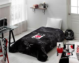Taç Lisanslı Black Eagle Battaniye+Kartal Logo Nevresim Takımı Tek Kişilik
