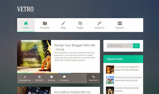 Vetro Flat Blogger Template