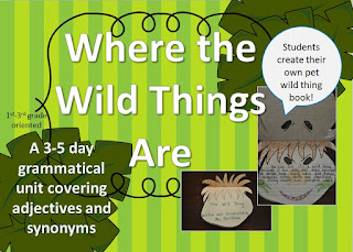 https://www.teacherspayteachers.com/Product/Adjectives-Synoyms-and-Pet-Wild-Thing-Book-Using-Where-The-Wild-Things-Are-2074779