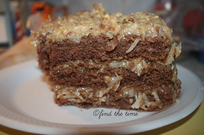 Find the Time: German Chocolate cake with Coconut Pecan frosting