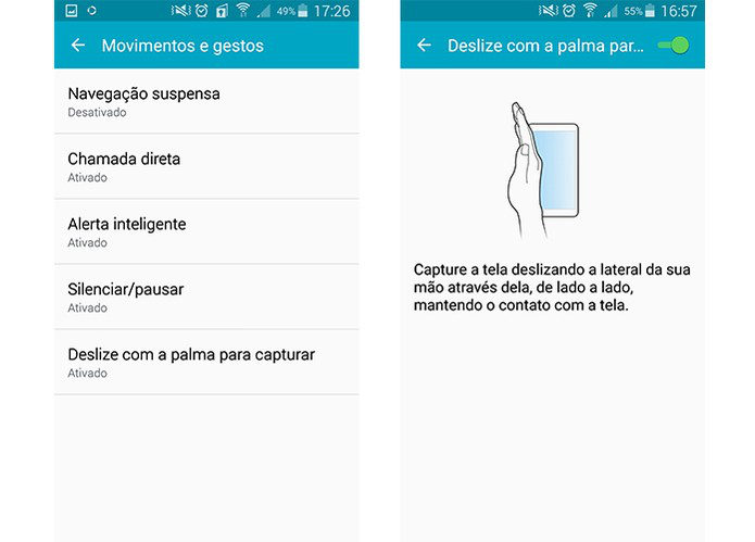 Screenshot rápido do smartphone Galaxy da Samsung