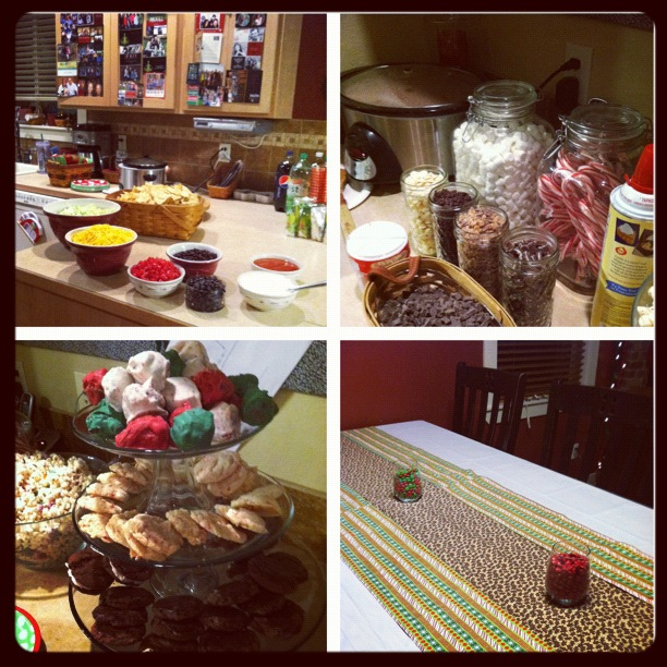 the gingerbread house party food and decor. taco bar. hot chocolate bar