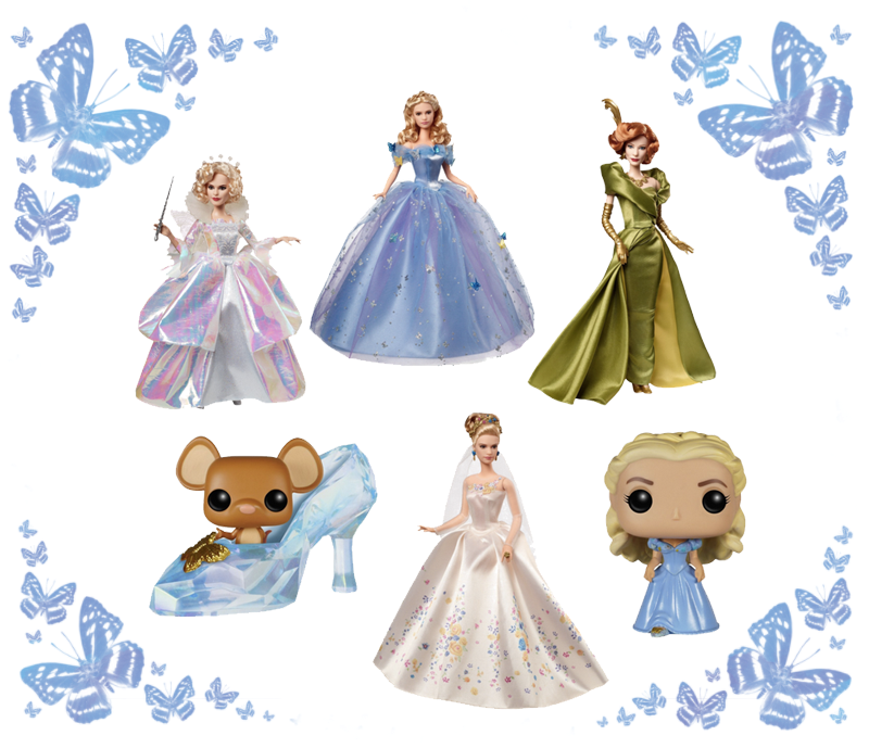 Barbie Dolls and FunKo Pop figures from Disney's 2015 Cinderella - available on Amazon