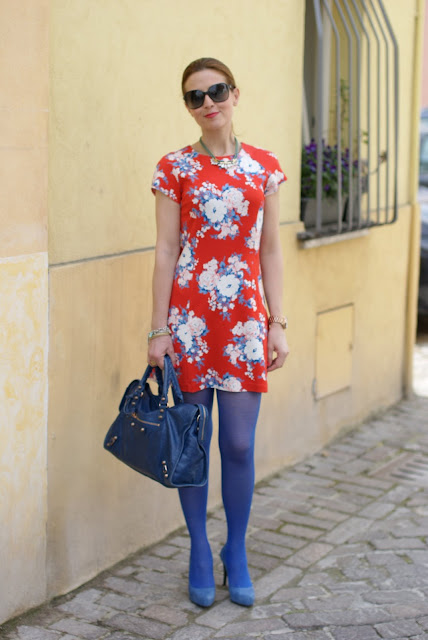 Flower mini dress, Balenciaga bag