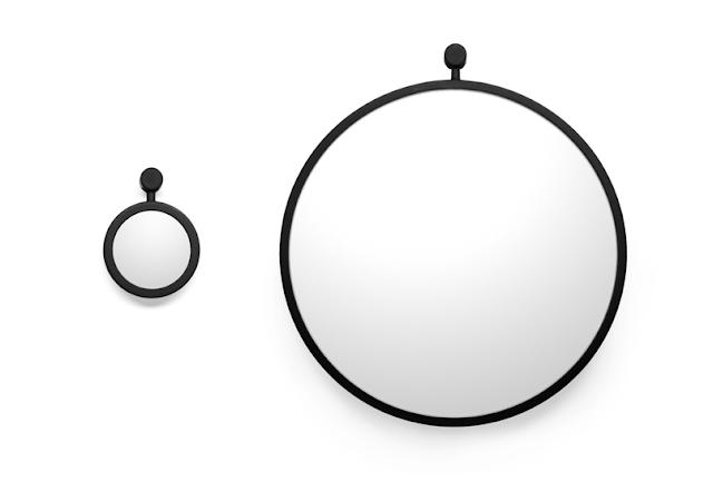 Черное большое и маленькое силиконовое зеркало для ванной комнаты