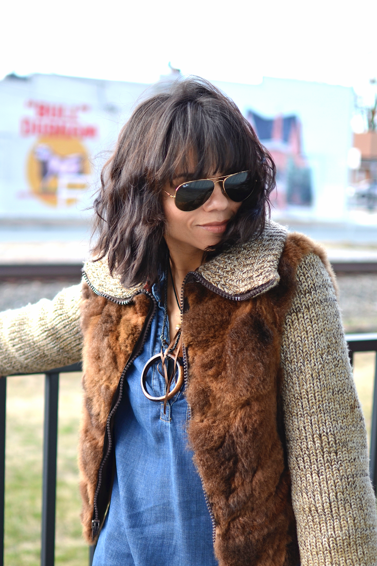 Brown Fur Jacket Ray-Ban Aviators Women
