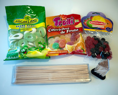 Ingredientes para hacer flores de gominolas
