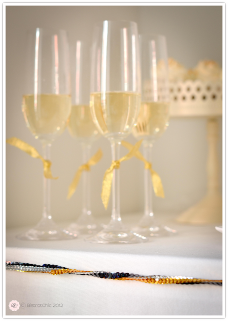 New Year's Eve party gold and black sparkling champagne glasses from BistrotChic